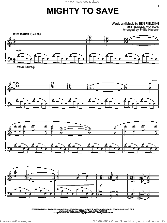 Mighty To Save, (intermediate) sheet music for piano solo by Reuben Morgan, Phillip Keveren and Ben Fielding, intermediate skill level