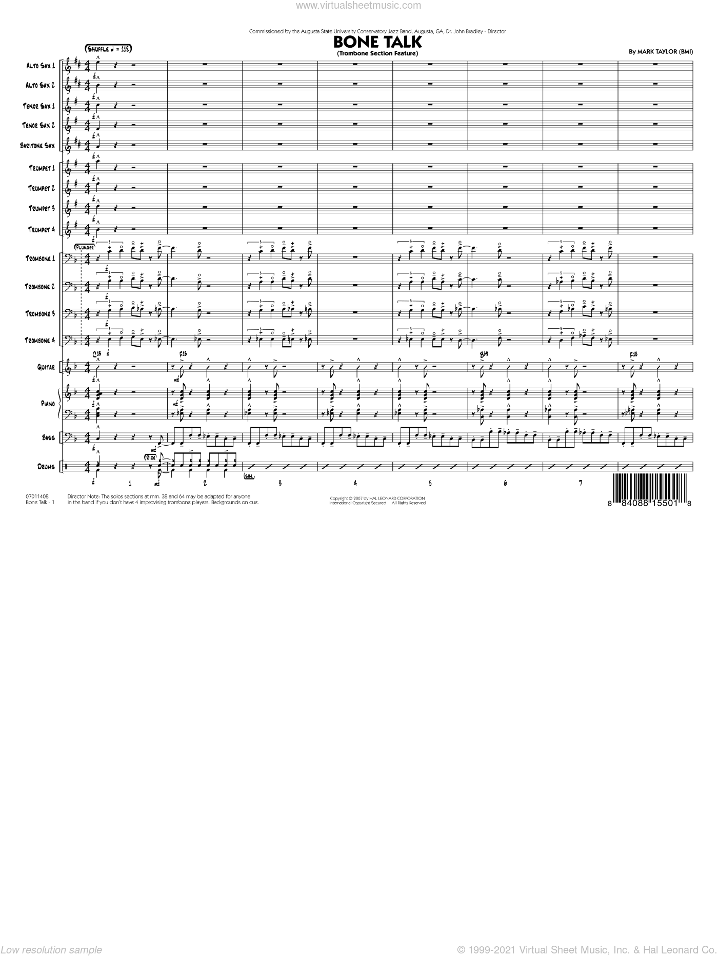 Bone Talk (Trombone Section Feature) sheet music for jazz band (full score) by Mark Taylor