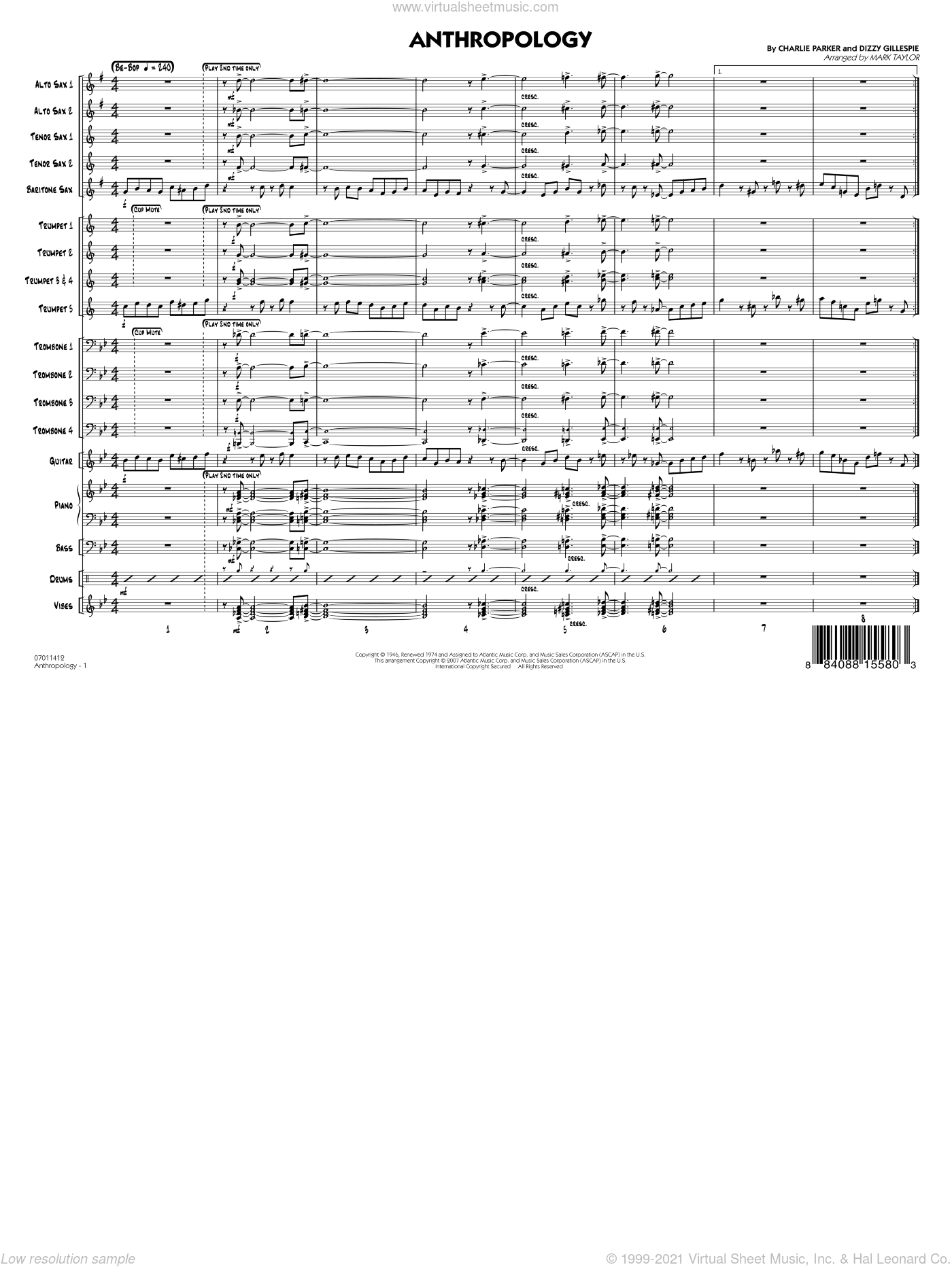 Anthropology sheet music for jazz band (full score) by Charlie Parker