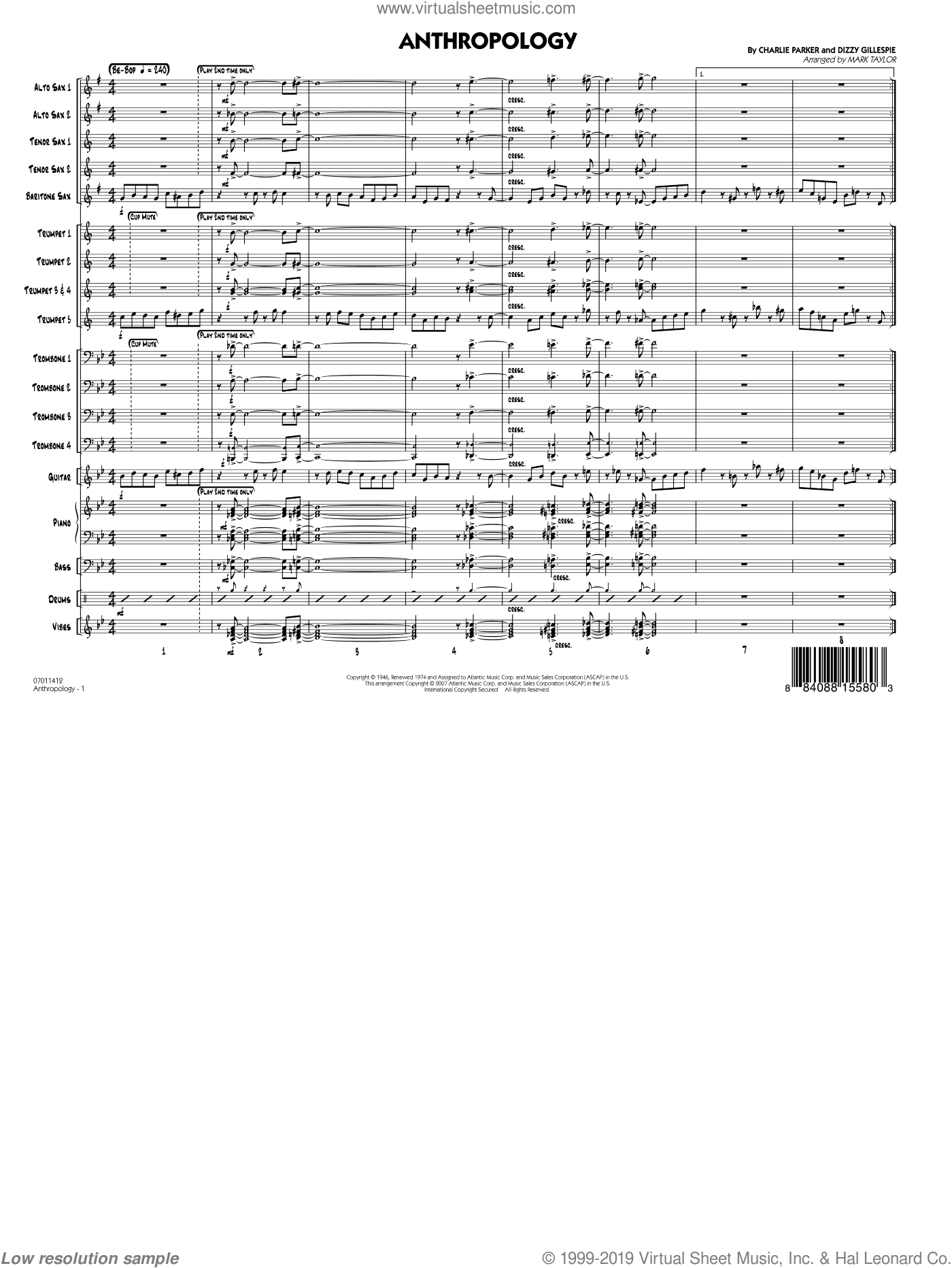Anthropology (COMPLETE) sheet music for jazz band by Charlie Parker