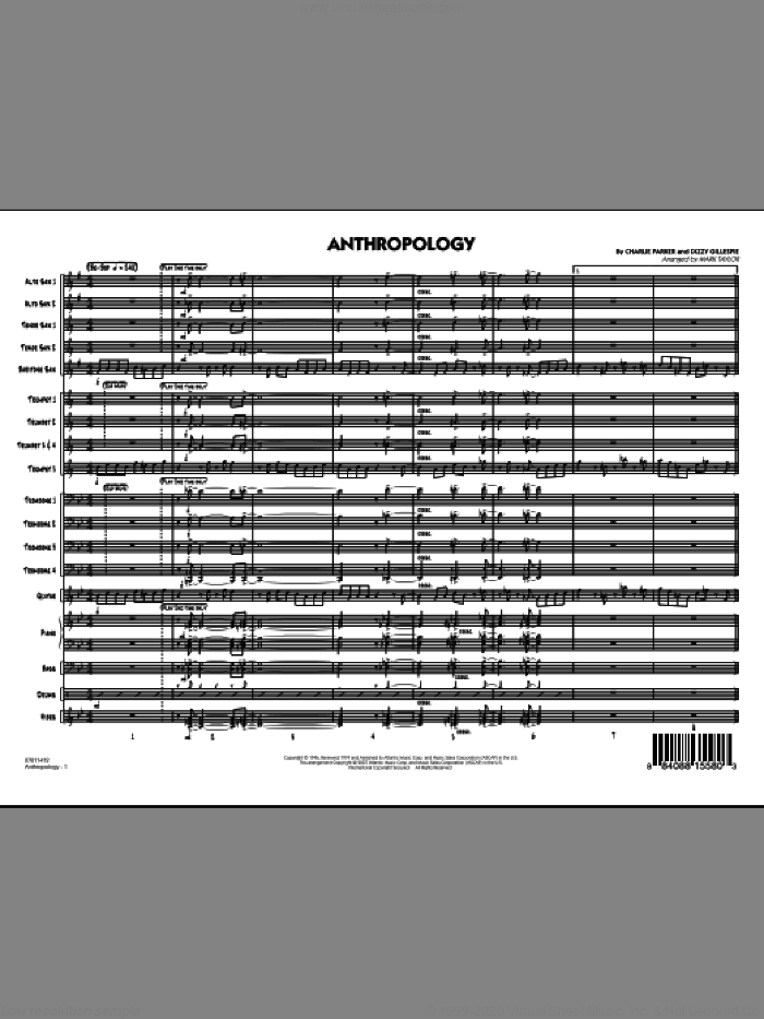 Anthropology (COMPLETE) sheet music for jazz band by Charlie Parker, Dizzy Gillespie and Mark Taylor, intermediate skill level