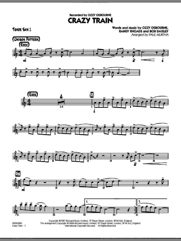 Crazy Train sheet music for jazz band (tenor sax 1) by Bob Daisley
