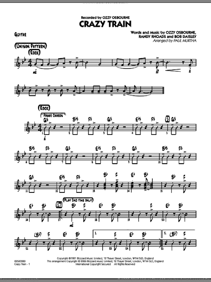 Crazy Train sheet music for jazz band (guitar) by Bob Daisley
