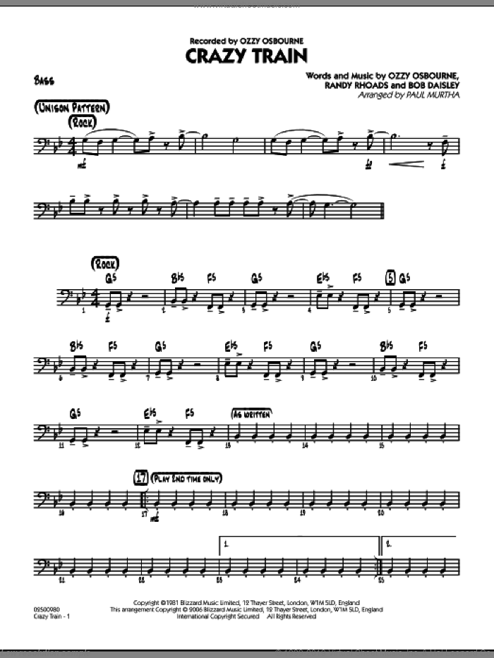 Crazy Train sheet music for jazz band (bass) by Bob Daisley