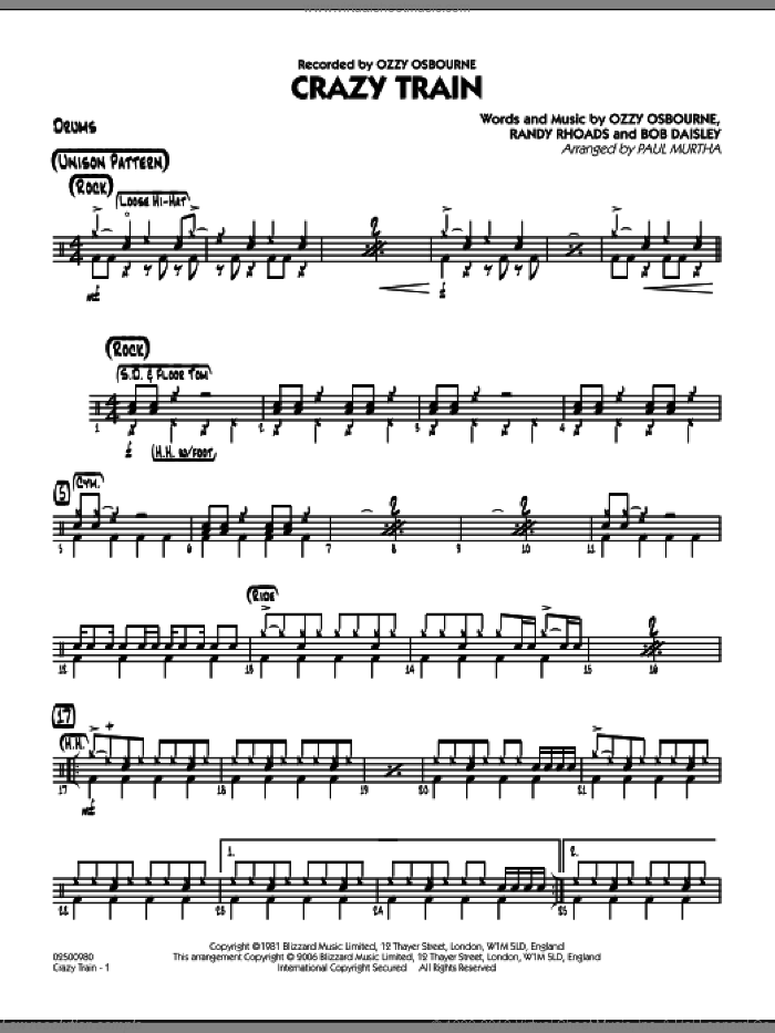 Crazy Train sheet music for jazz band (drums) by Bob Daisley