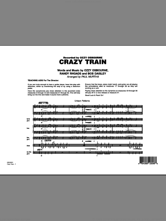 Crazy Train (COMPLETE) sheet music for jazz band by Ozzy Osbourne, Randy Rhoads and Paul Murtha, intermediate. Score Image Preview.