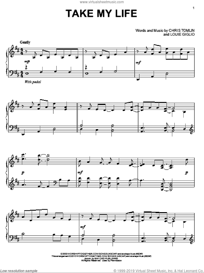 Take My Life, (intermediate) sheet music for piano solo by Chris Tomlin and Louie Giglio, intermediate skill level