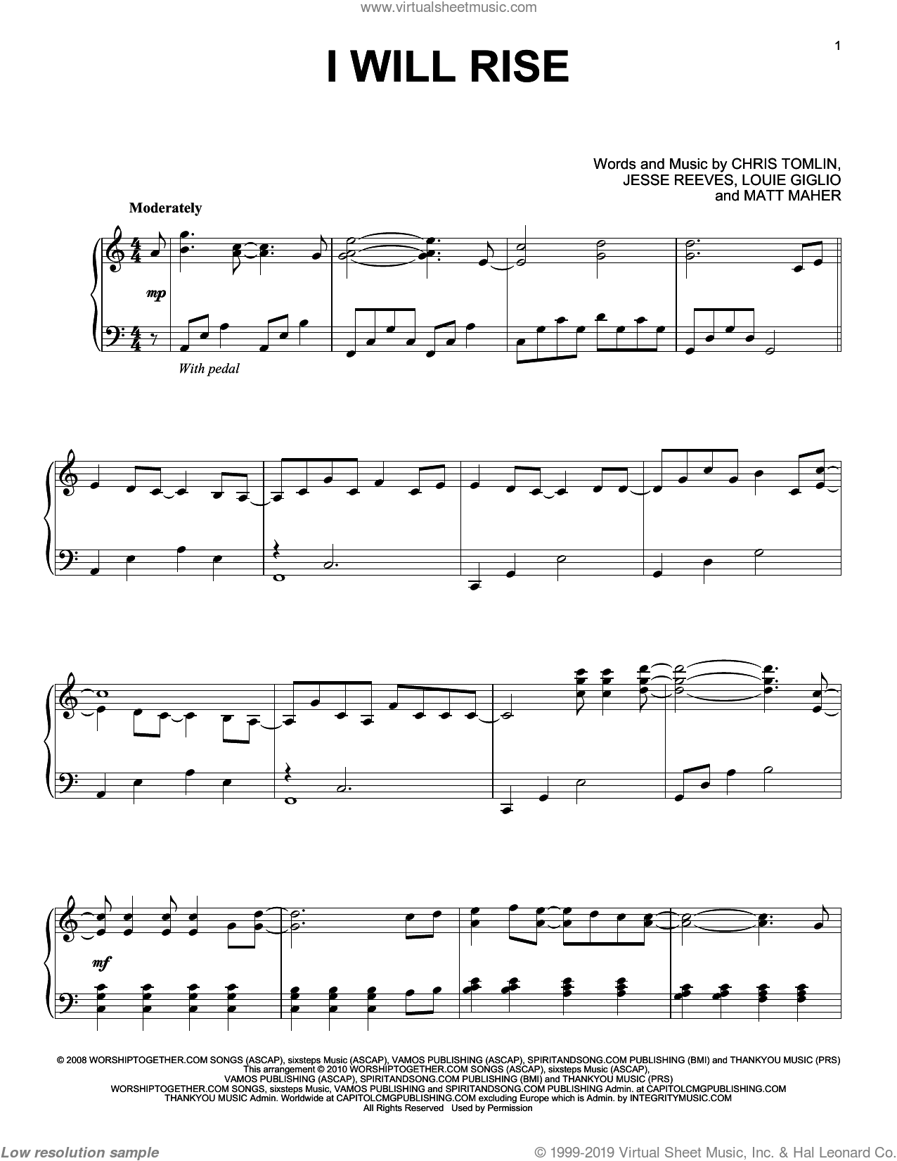 I Will Rise, (intermediate) sheet music for piano solo by Chris Tomlin, Jesse Reeves, Louis Giglio and Matt Maher, intermediate skill level