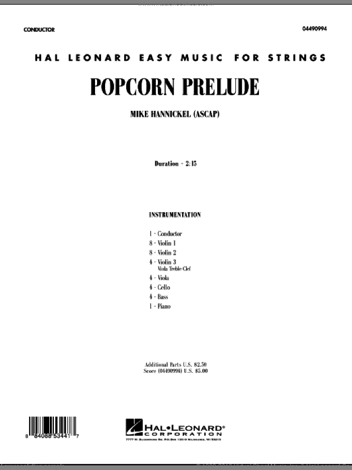 Popcorn Prelude sheet music for orchestra (full score) by Mike Hannickel