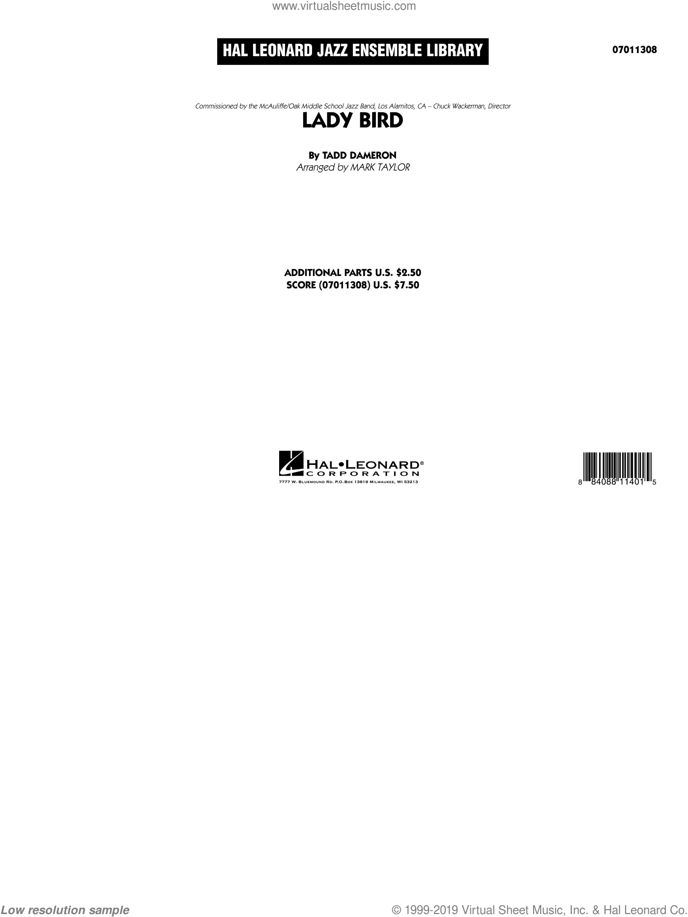 Lady Bird (COMPLETE) sheet music for jazz band by Tadd Dameron and Mark Taylor, intermediate. Score Image Preview.