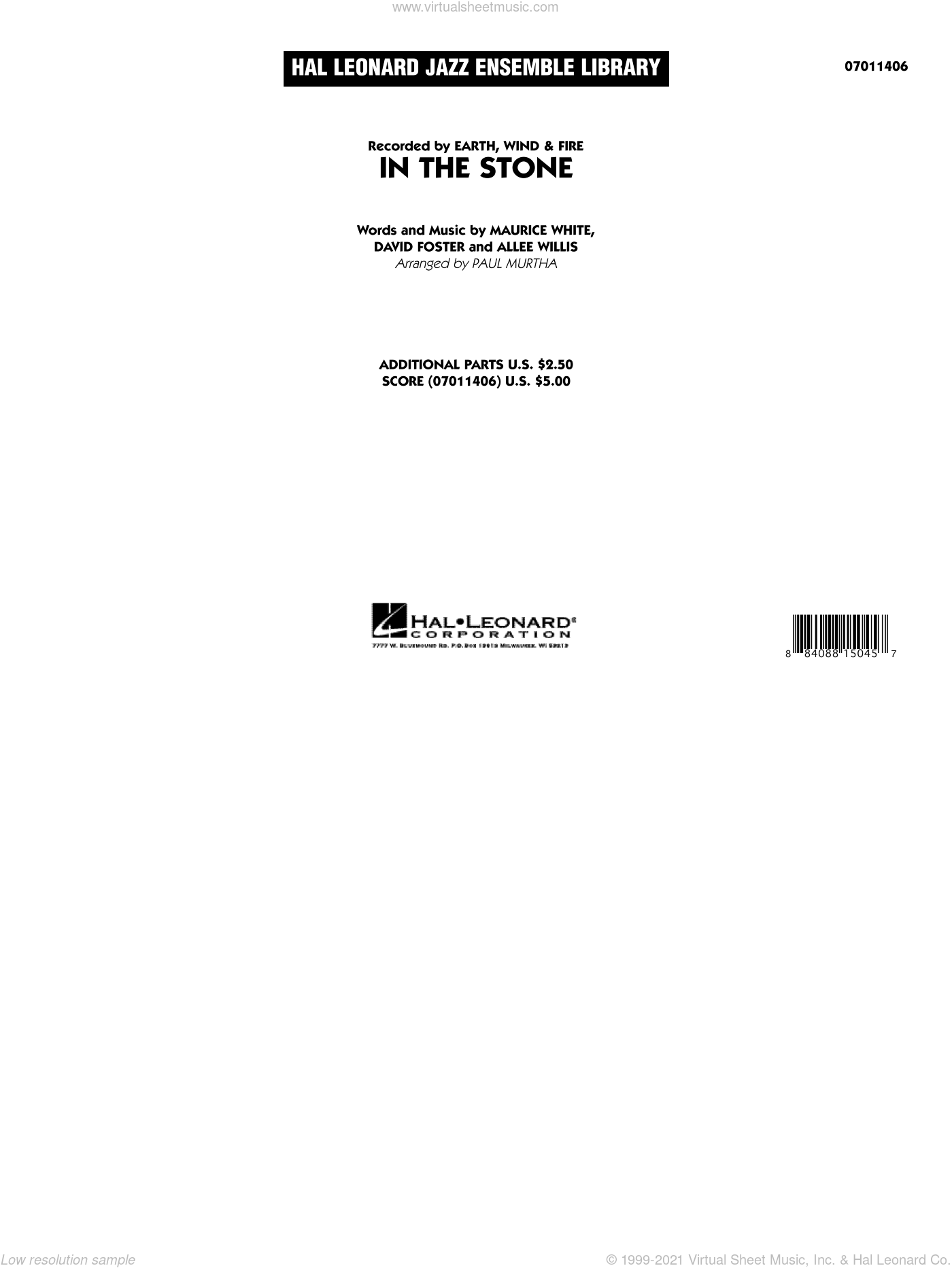 In The Stone sheet music for jazz band (full score) by Allee Willis
