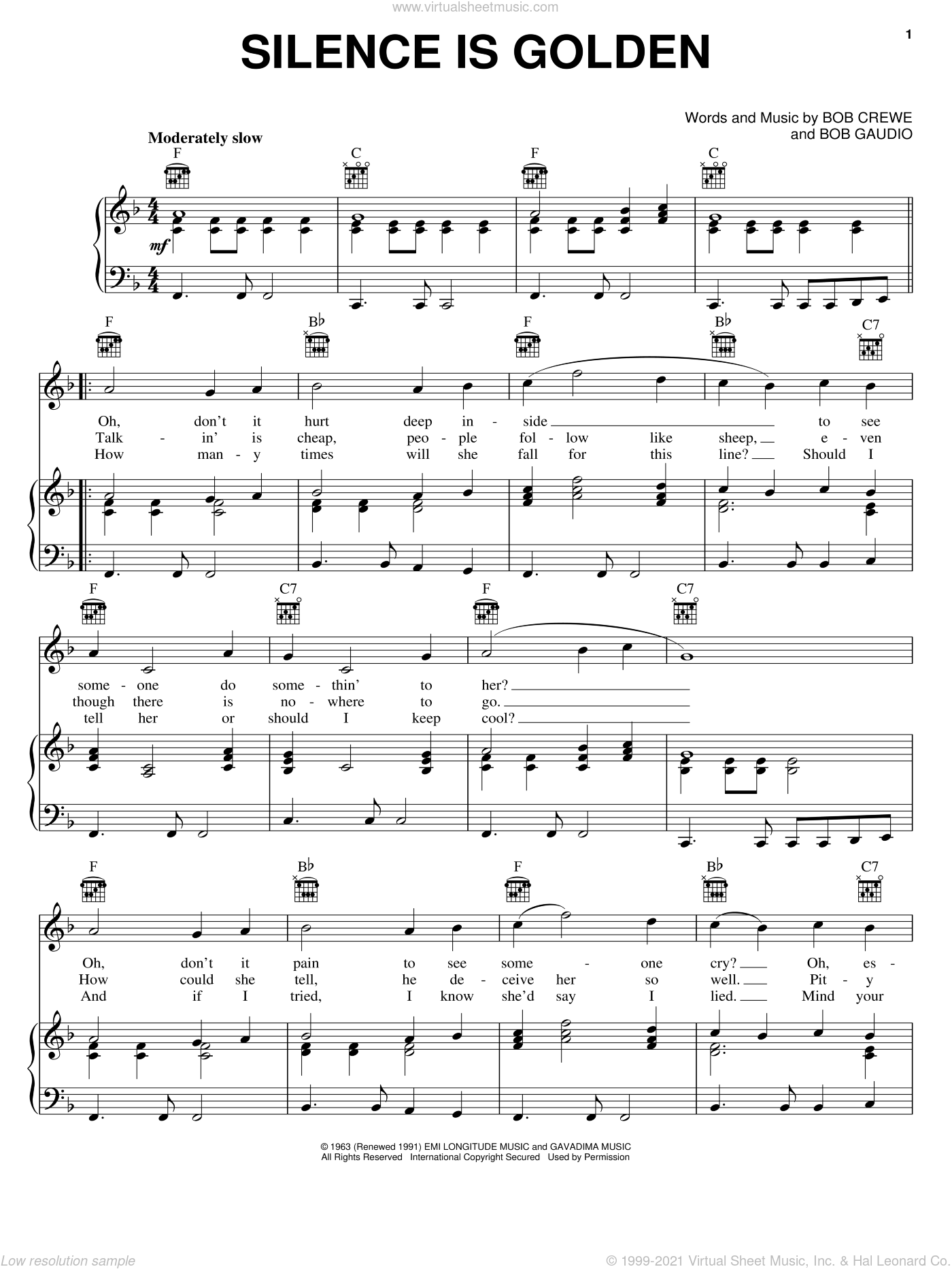 Silence Is Golden sheet music for voice, piano or guitar by Bob Crewe and Bob Gaudio, intermediate skill level