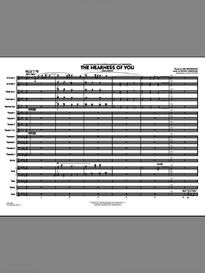 The Nearness Of You (COMPLETE) sheet music for jazz band by Hoagy Carmichael, John Clayton and Ned Washington, intermediate jazz band. Score Image Preview.