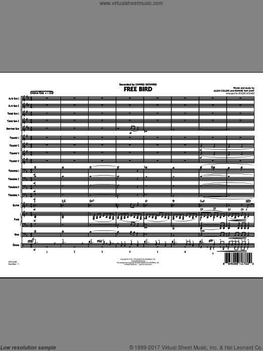 Free Bird (COMPLETE) sheet music for jazz band by Allen Collins