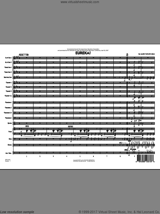 Eureka! (COMPLETE) sheet music for jazz band by Mark Taylor