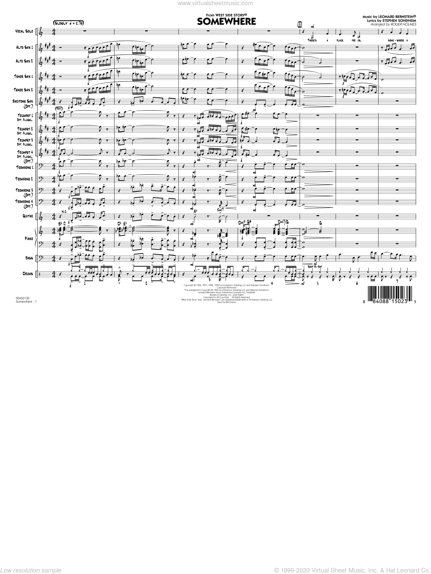 Somewhere (from West Side Story) sheet music for jazz band (full score) by Leonard Bernstein