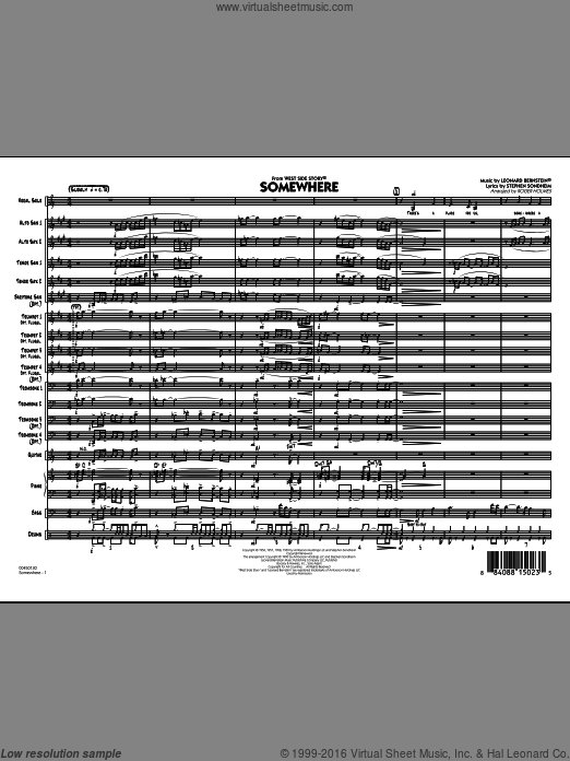 Somewhere (from West Side Story) (COMPLETE) sheet music for jazz band by Leonard Bernstein, Roger Holmes and Stephen Sondheim. Score Image Preview.