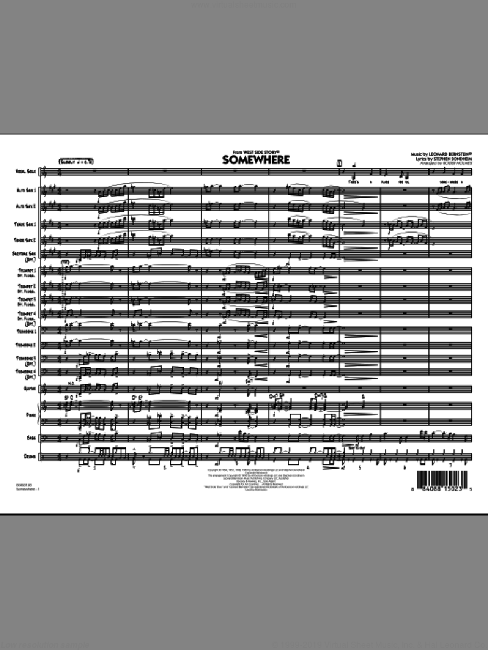 Somewhere (from West Side Story) (COMPLETE) sheet music for jazz band by Stephen Sondheim, Leonard Bernstein and Roger Holmes, intermediate skill level