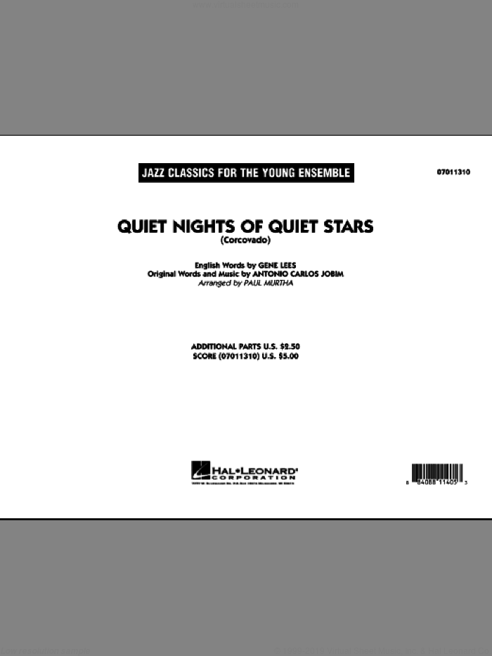 Quiet Nights Of Quiet Stars (Corcovado) (COMPLETE) sheet music for jazz band by Antonio Carlos Jobim, Eugene John Lees and Paul Murtha, intermediate. Score Image Preview.