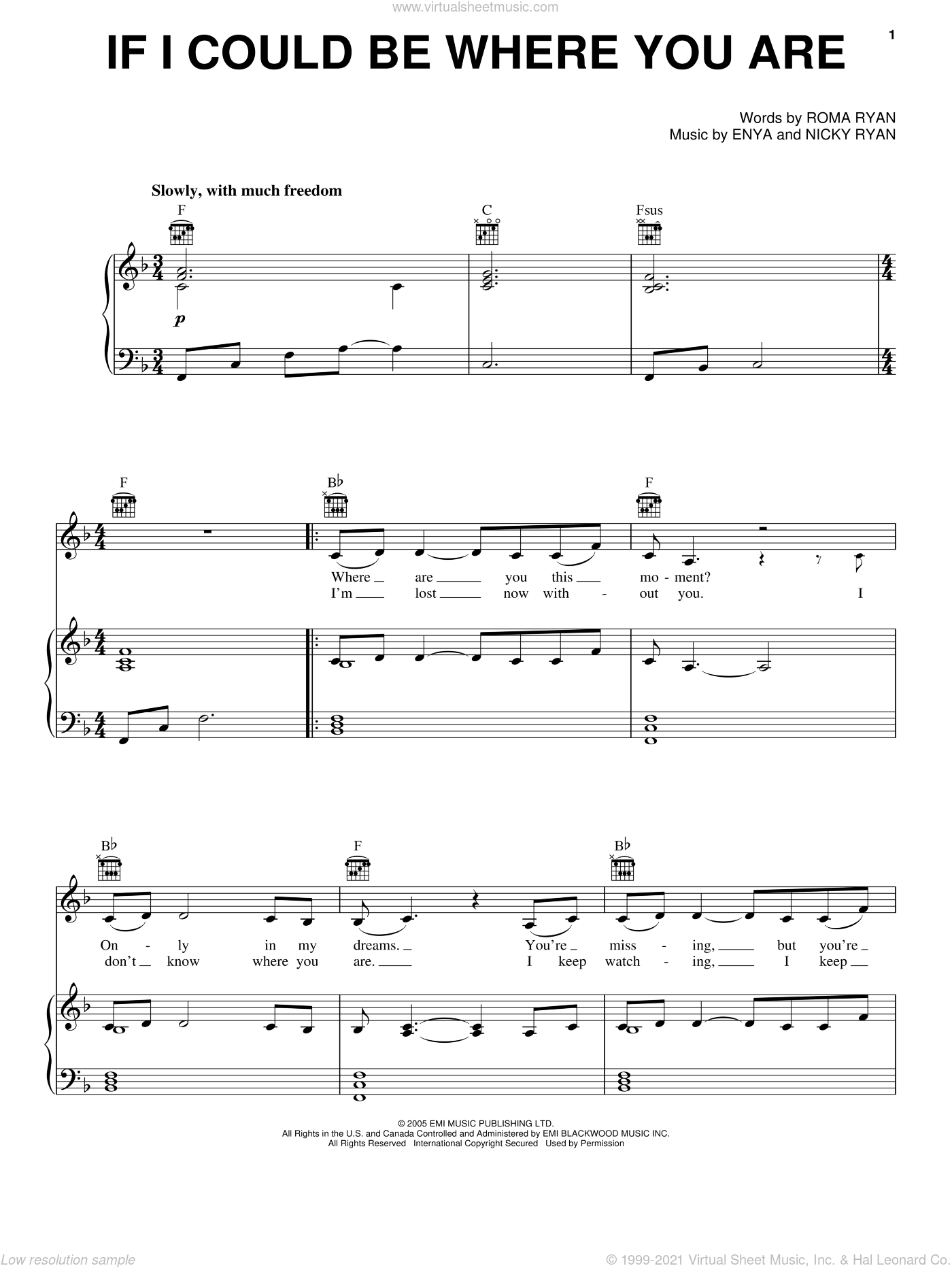If I Could Be Where You Are sheet music for voice, piano or guitar by Enya, Nicky Ryan and Roma Ryan, intermediate skill level