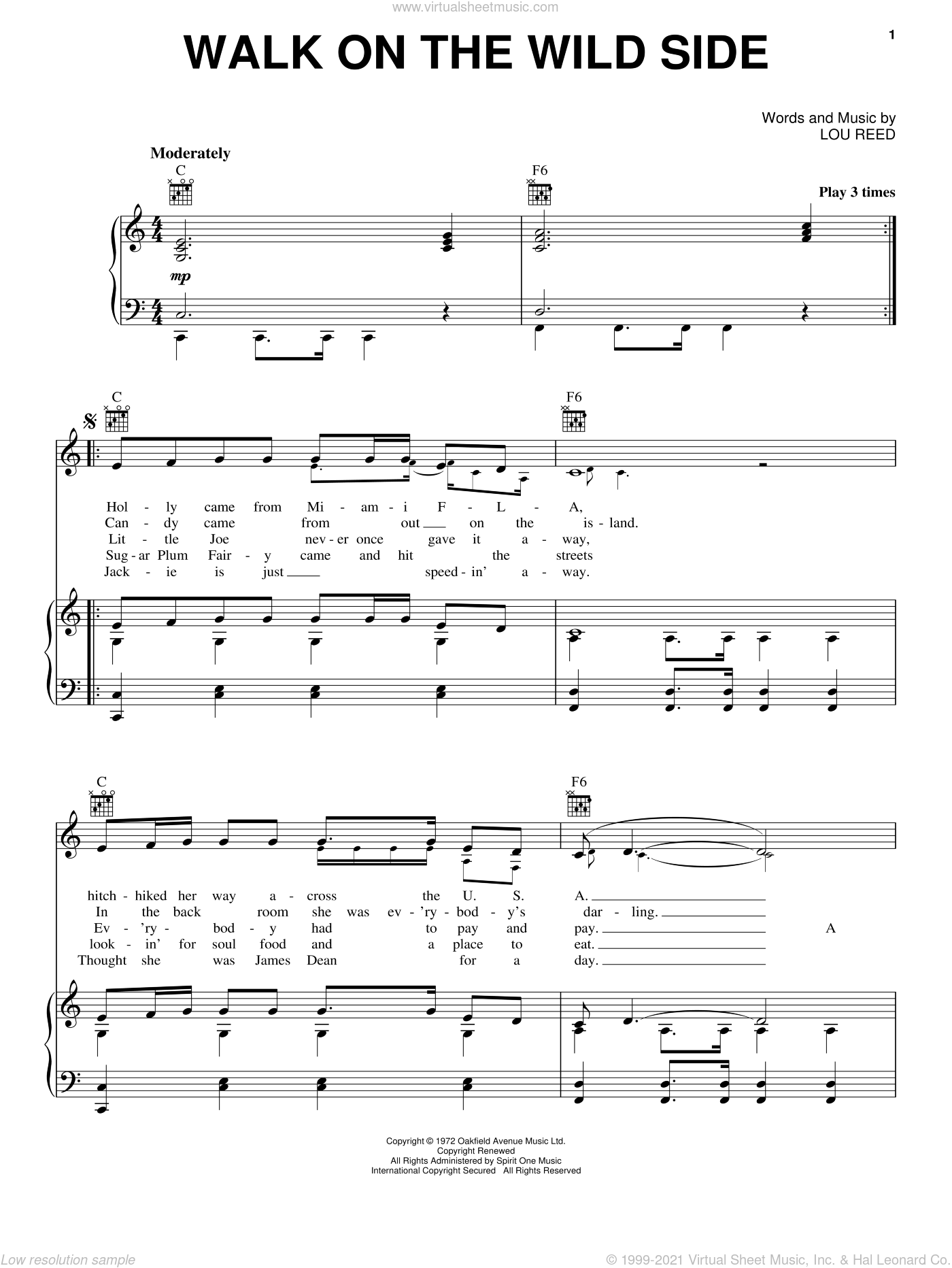 Walk On The Wild Side sheet music for voice, piano or guitar by Lou Reed. Score Image Preview.