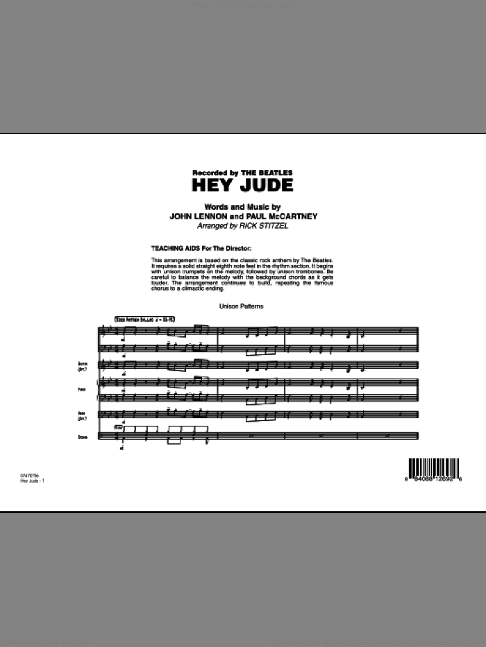 Hey Jude (COMPLETE) sheet music for jazz band by John Lennon, Paul McCartney, Rick Stitzel and The Beatles, intermediate. Score Image Preview.