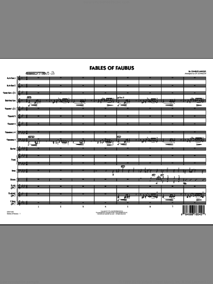 Fables Of Faubus (COMPLETE) sheet music for jazz band by Charles Mingus and Sy Johnson, intermediate skill level