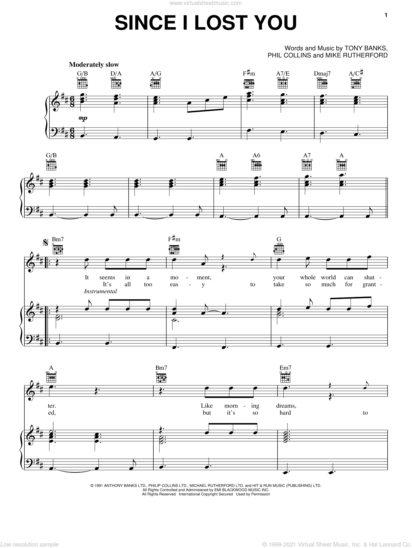 Since I Lost You sheet music for voice, piano or guitar by Genesis, Mike Rutherford, Phil Collins and Tony Banks, intermediate skill level