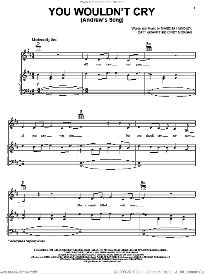You Wouldn't Cry (Andrew's Song) sheet music for voice, piano or guitar by Mandisa, Catt Gravitt, Cindy Morgan and Mandisa Hundley, intermediate skill level