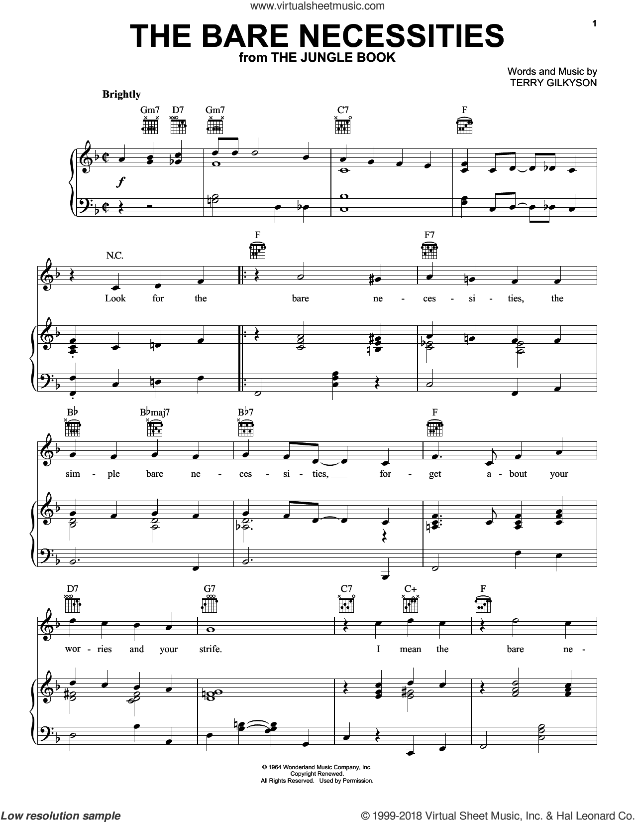 The Bare Necessities sheet music for voice, piano or guitar by Terry Gilkyson, intermediate skill level