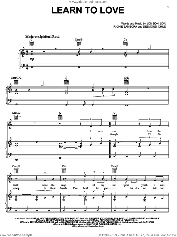 Learn To Love sheet music for voice, piano or guitar by Richie Sambora, Bon Jovi and Desmond Child. Score Image Preview.