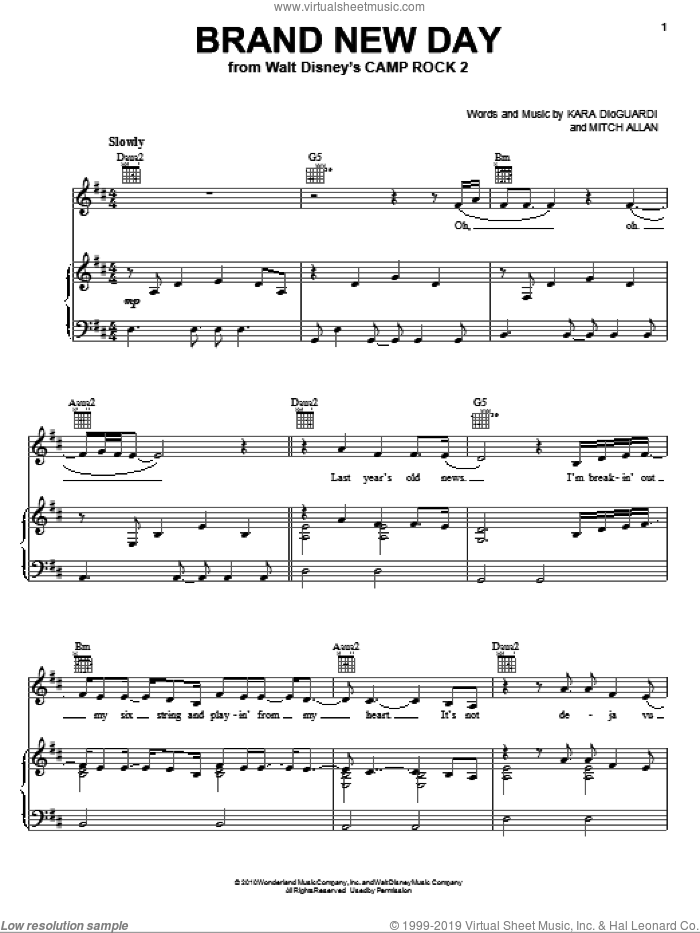 Brand New Day (from Camp Rock 2) sheet music for voice, piano or guitar by Demi Lovato, Camp Rock 2 (Movie), Kara DioGuardi and Mitch Allan, intermediate skill level
