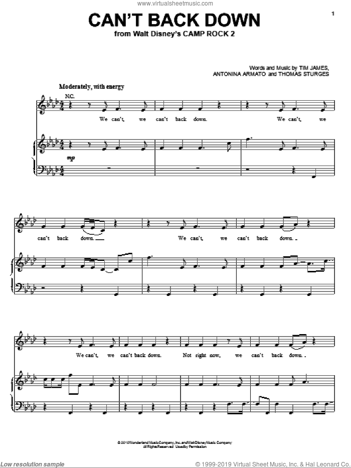 Can't Back Down sheet music for voice, piano or guitar by Demi Lovato, Camp Rock 2 (Movie), Antonina Armato, Thomas Sturges and Tim James, intermediate skill level