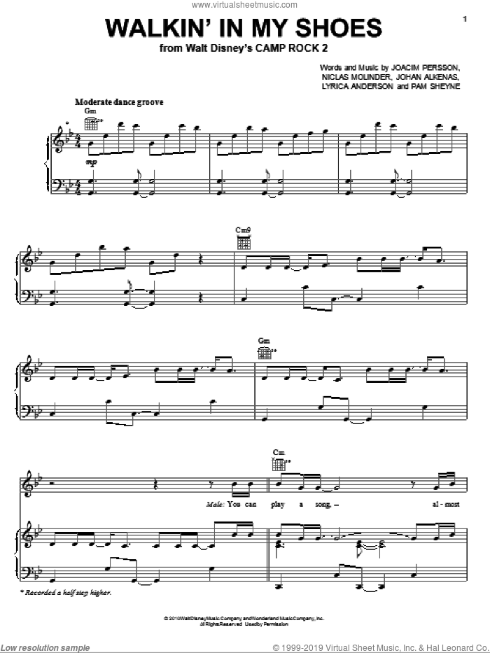 Walkin' In My Shoes sheet music for voice, piano or guitar by Pam Sheyne, Lyrica Anderson and Niclas Molinder. Score Image Preview.