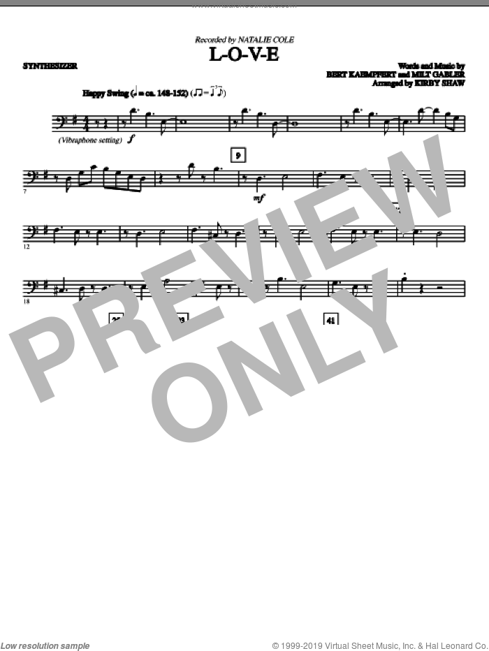 L-O-V-E (complete set of parts) sheet music for orchestra/band (Rhythm) by Bert Kaempfert, Kirby Shaw and Natalie Cole, intermediate. Score Image Preview.