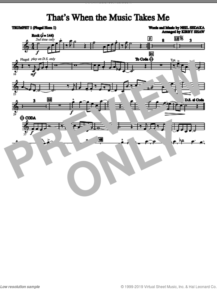 That's When The Music Takes Me (complete set of parts) sheet music for orchestra/band by Neil Sedaka and Kirby Shaw, intermediate skill level