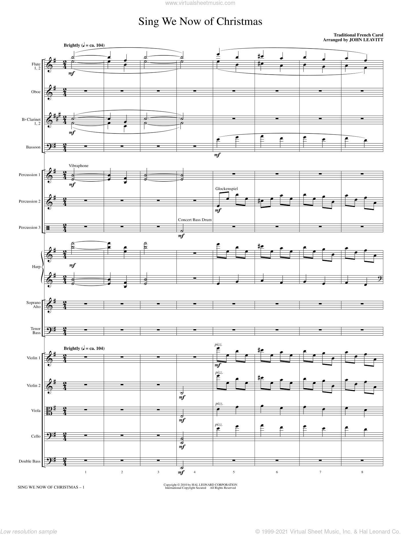 Sing We Now Of Christmas sheet music for orchestra/band (Chamber)