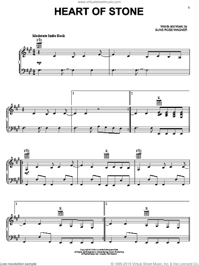 Heart Of Stone sheet music for voice, piano or guitar by The Raveonettes, intermediate voice, piano or guitar. Score Image Preview.
