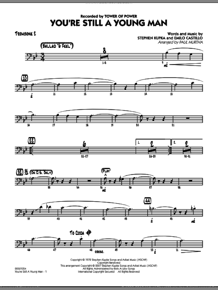 You're Still A Young Man sheet music for jazz band (trombone 2) by Paul Murtha, Emilio Castillo, Stephen Kupka and Tower Of Power, intermediate skill level