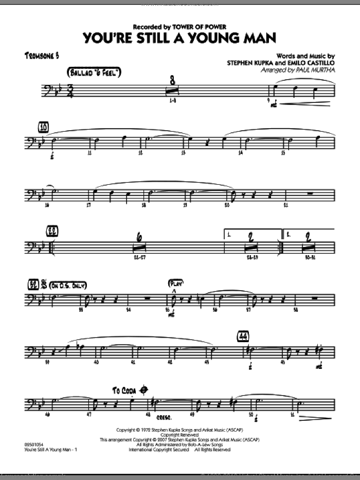 You're Still A Young Man sheet music for jazz band (trombone 3) by Emilio Castillo, Stephen Kupka, Paul Murtha and Tower Of Power, intermediate skill level