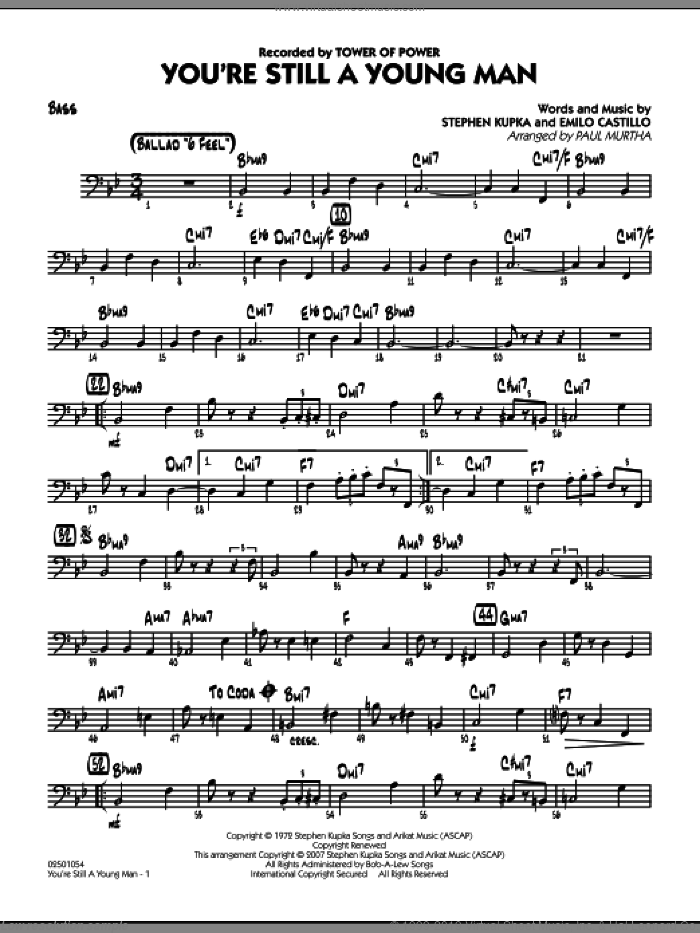 You're Still A Young Man sheet music for jazz band (bass) by Paul Murtha, Emilio Castillo, Stephen Kupka and Tower Of Power, intermediate skill level