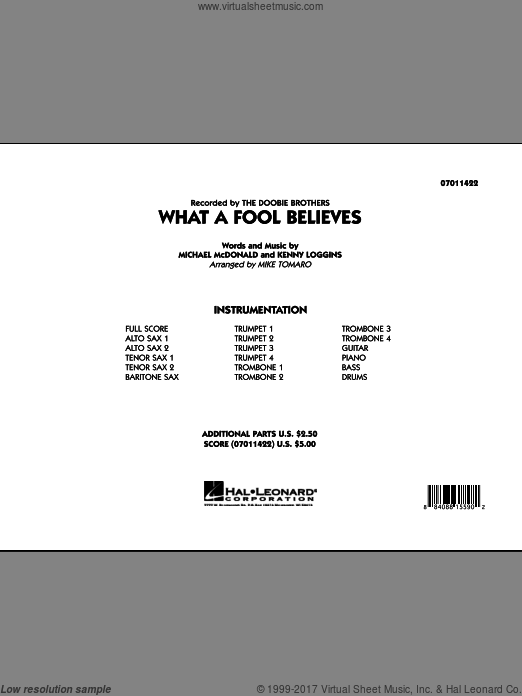 What A Fool Believes (COMPLETE) sheet music for jazz band by Kenny Loggins