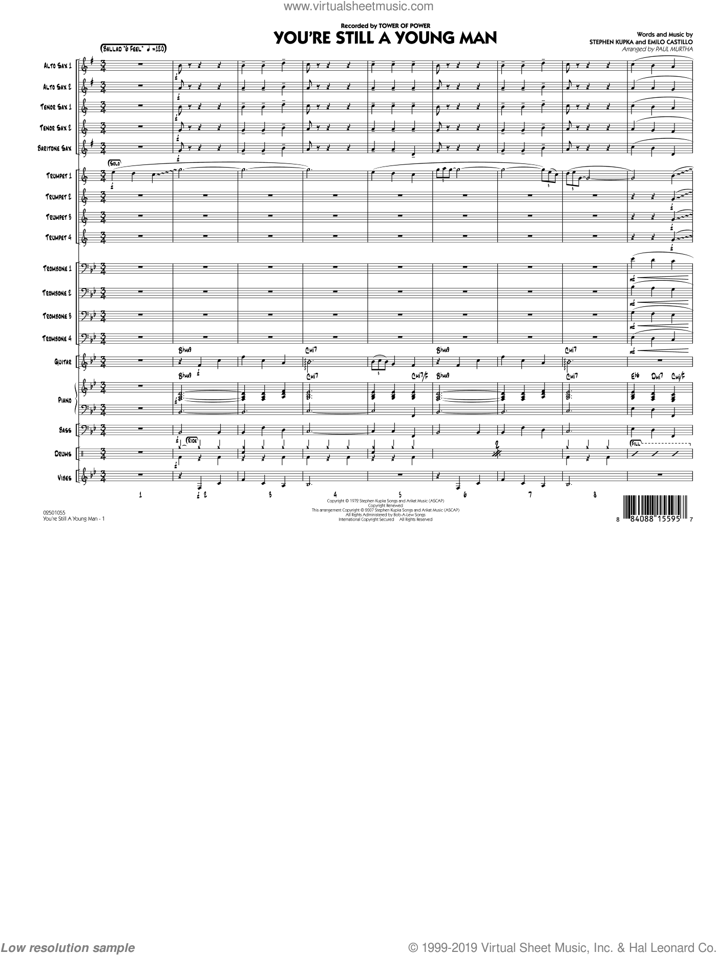 You're Still A Young Man (COMPLETE) sheet music for jazz band by Emilio Castillo, Paul Murtha, Stephen Kupka and Tower Of Power. Score Image Preview.
