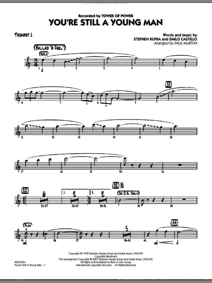 You're Still A Young Man sheet music for jazz band (trumpet 1) by Paul Murtha, Emilio Castillo, Stephen Kupka and Tower Of Power, intermediate skill level