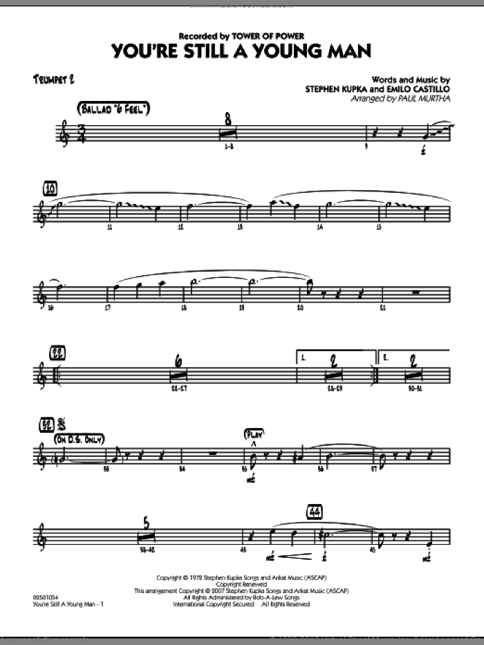 You're Still A Young Man sheet music for jazz band (trumpet 2) by Paul Murtha, Emilio Castillo, Stephen Kupka and Tower Of Power, intermediate skill level