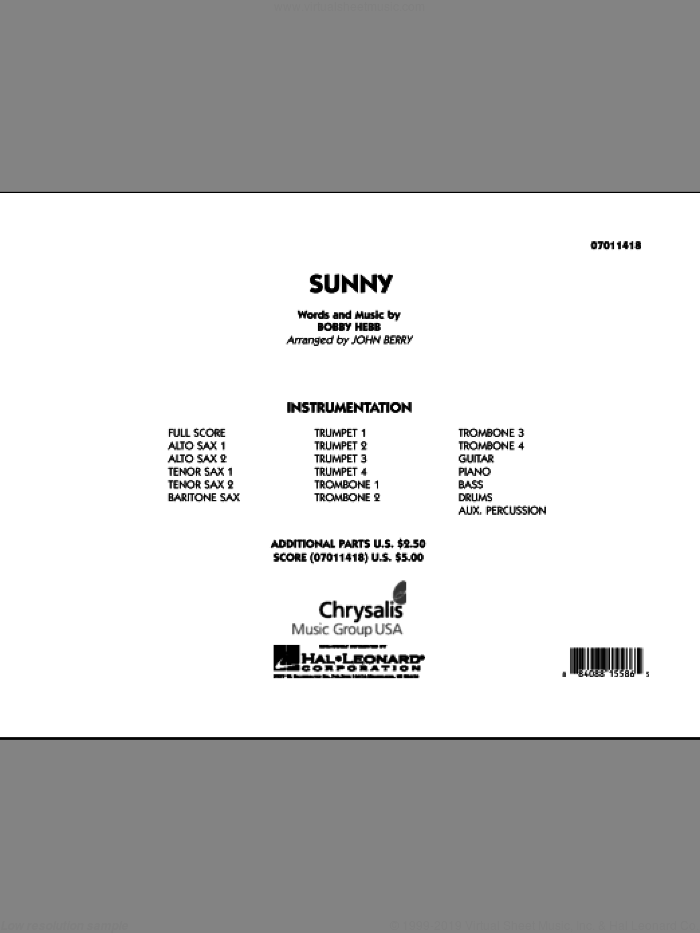 Sunny (COMPLETE) sheet music for jazz band by Bobby Hebb and John Berry, intermediate. Score Image Preview.