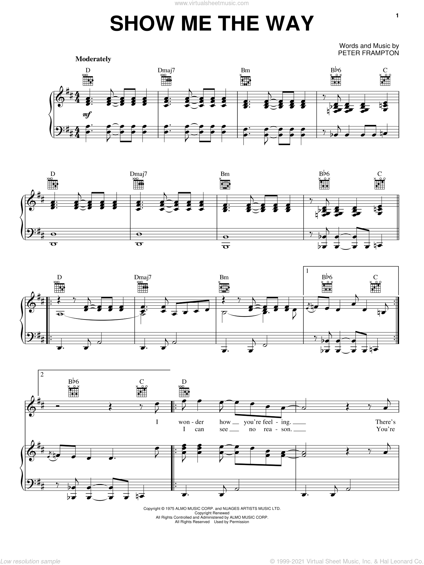 Show Me The Way sheet music for voice, piano or guitar by Peter Frampton. Score Image Preview.
