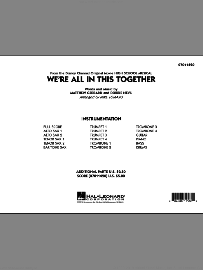 We're All In This Together (from High School Musical) (COMPLETE) sheet music for jazz band by Matthew Gerrard, Robbie Nevil and Mike Tomaro, intermediate skill level