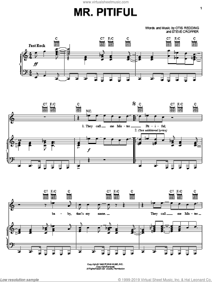 Mr. Pitiful sheet music for voice, piano or guitar by Otis Redding and Steve Cropper, intermediate skill level