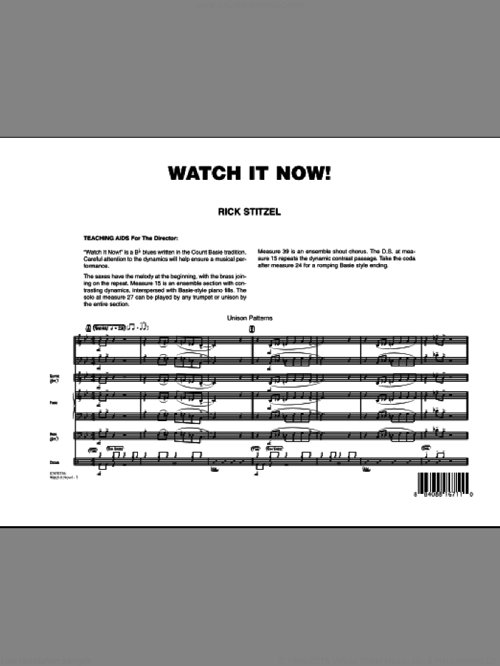 Watch It Now! (COMPLETE) sheet music for jazz band by Rick Stitzel, intermediate skill level